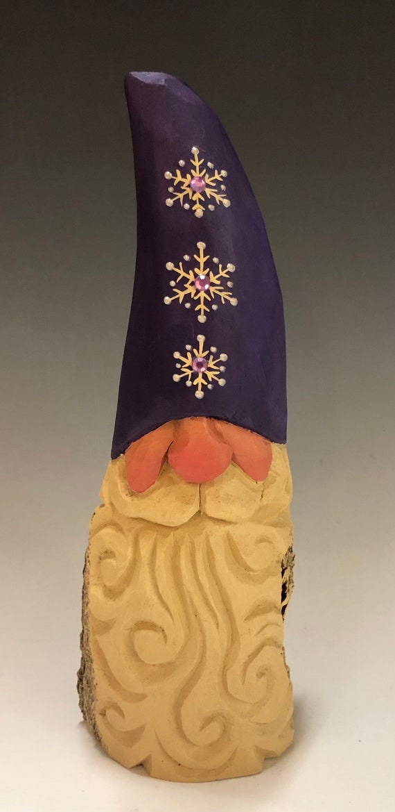"HAND carved 9"" tall purple bedazzled hat Gnome bust  from 100 year old Cottonwood Bark."