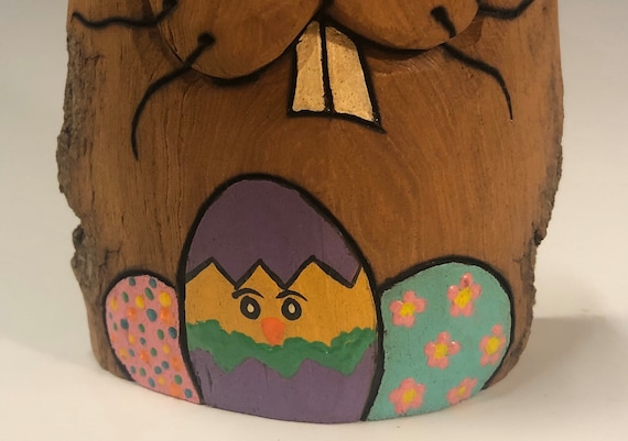 """HAND CARVED original 6"""" tall Easter Bunny with peeking chick egg from 100 year old Cottonwood Bark."""