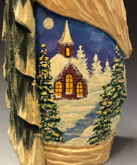 "HAND carved original 9.5"" tall Santa with painted scene from 100 year old Cottonwood Bark."