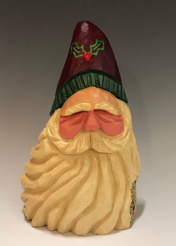 "HAND carved 6.5"" tall holly hat Santa bust from 100 year old Cottonwood Bark."