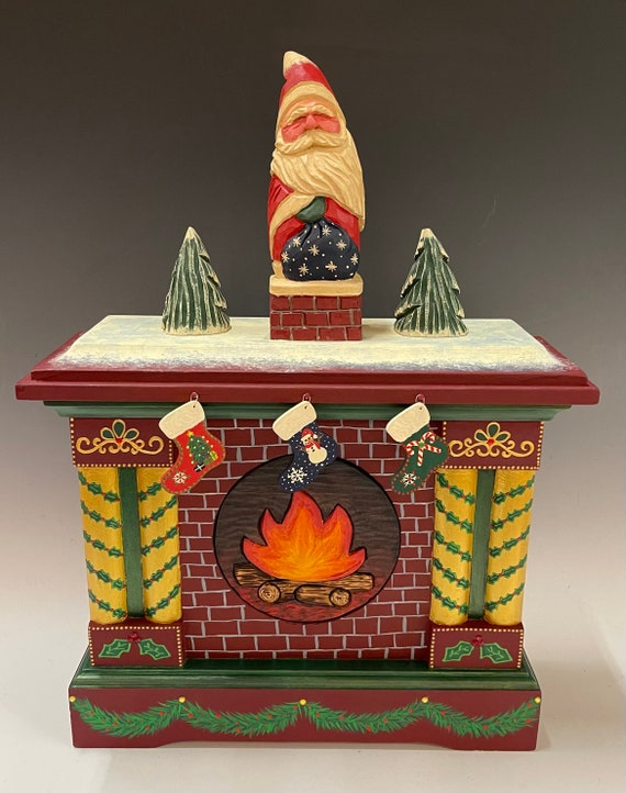 """Hand carved/ painted original 17"""" Christmas fireplace from old clock case."""