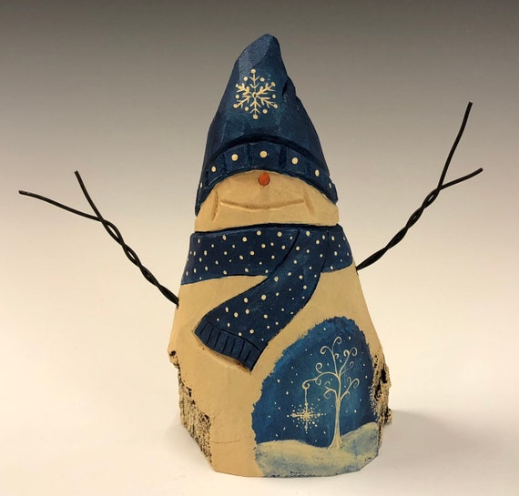 HAND carved original Snowman w/ tree scene from 100 year old Cottonwood Bark.