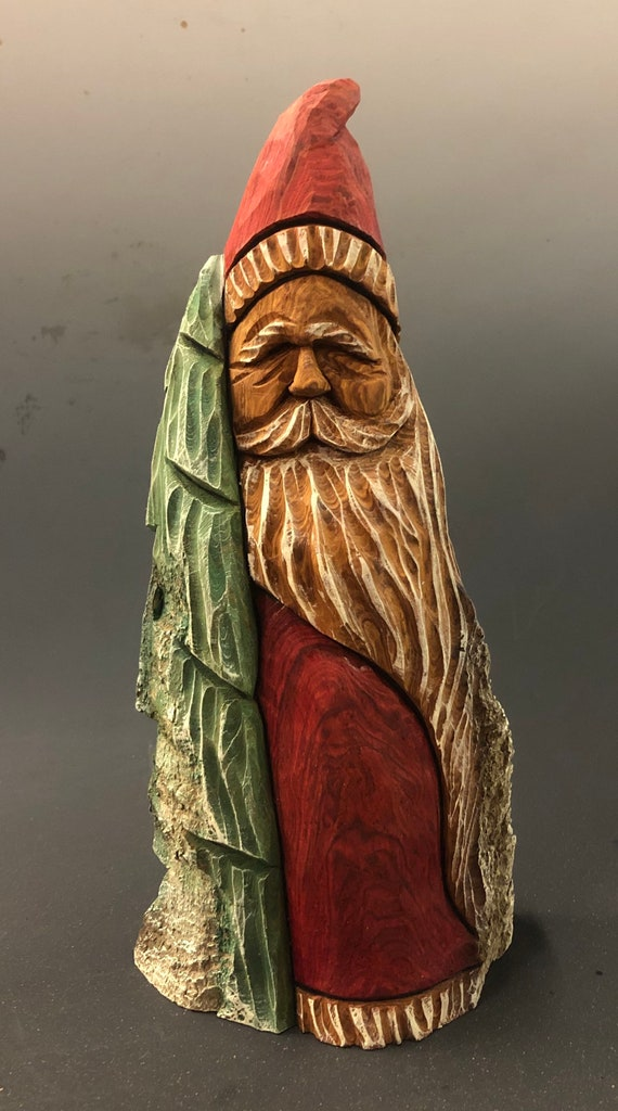 """HAND carved original 10.5"""" tall rustic Santa w/ tree from 100 year old Cottonwood Bark."""