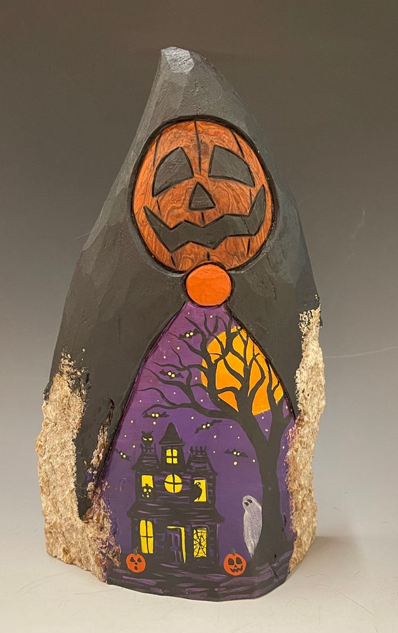 """HAND CARVED original 10"""" tall Halloween Jack-O-Lantern man w/ a painted scene from 100 year old Cottonwood Bark"""