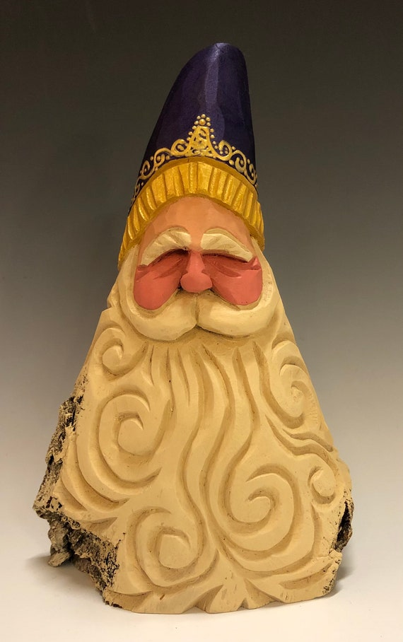 "HAND carved 7.5"" tall purple hat Santa bust with curly beard from 100 year old Cottonwood Bark."