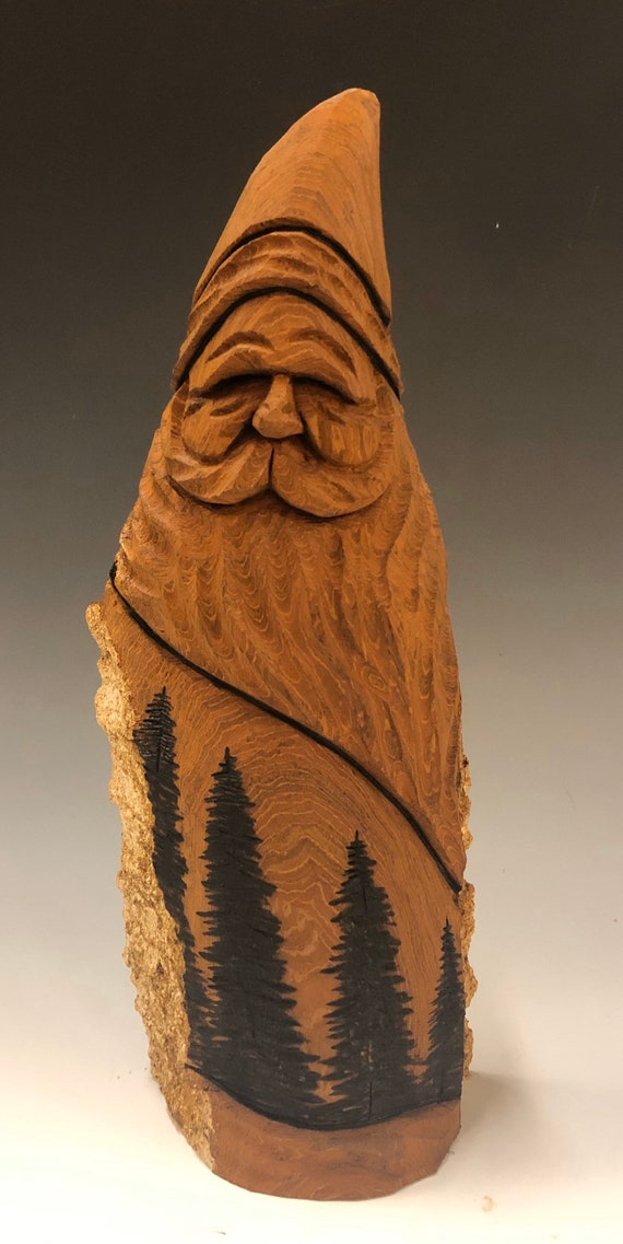 "HAND carved original 9"" tall Santa and wood burned trees from 100 year old Cottonwood Bark."