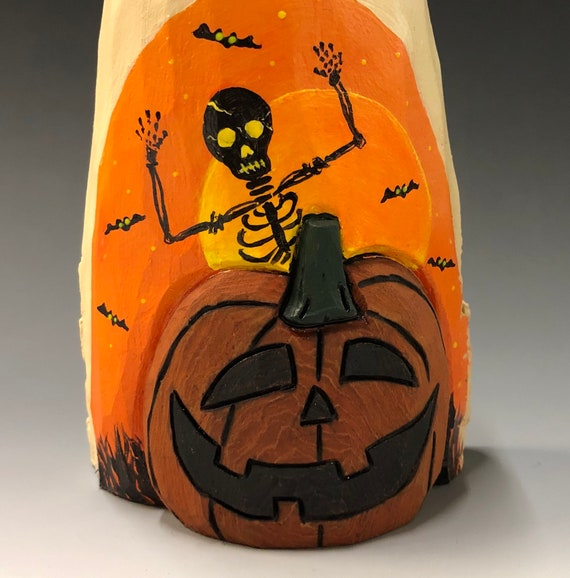 "HAND CARVED original 7"" tall Ghost & Jack-O-Lantern from 100 year old Cottonwood Bark"
