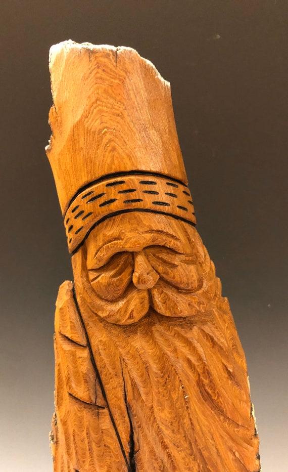 "HAND carved original 15"" tall natural finish Santa and tree from 100 year old Cottonwood Bark."