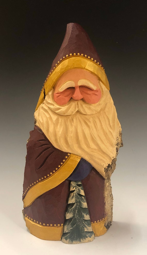 """HAND carved original 10.5"""" tall Santa w/ hold trim and tree from 100 year old Cottonwood Bark."""
