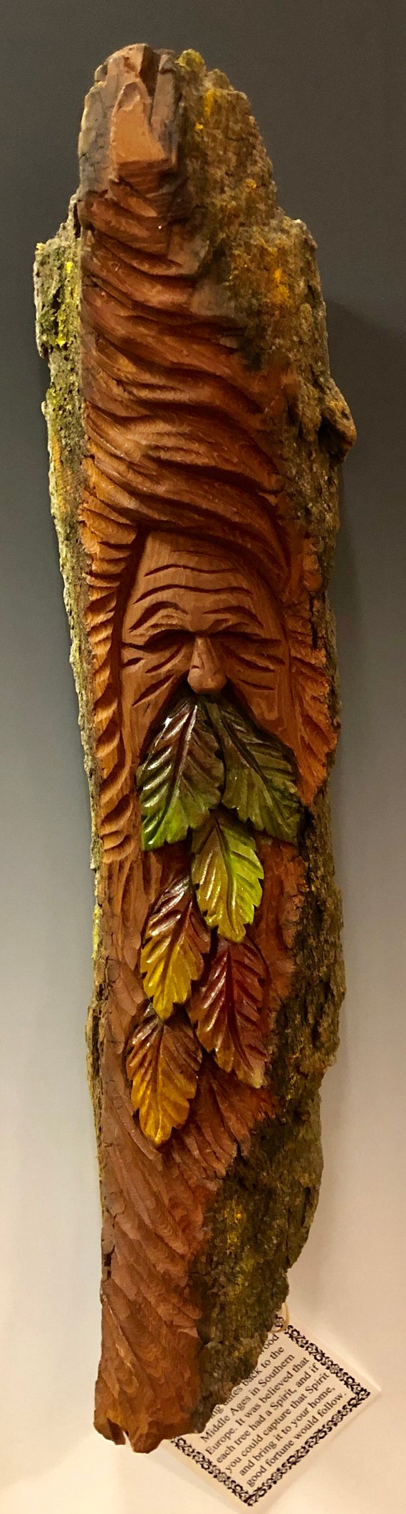 HAND CARVED original Tree Spirit with leaves from 100 year old Cottonwood Bark