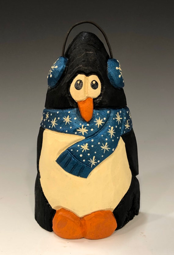 "HAND carved original 5.5"" tall Penguin with ear muffs from 100 year old Cottonwood Bark."