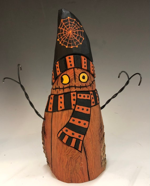"HAND CARVED original 8"" tall Halloween Jack-O-Lantern ""snowman"" from 100 year old Cottonwood Bark"