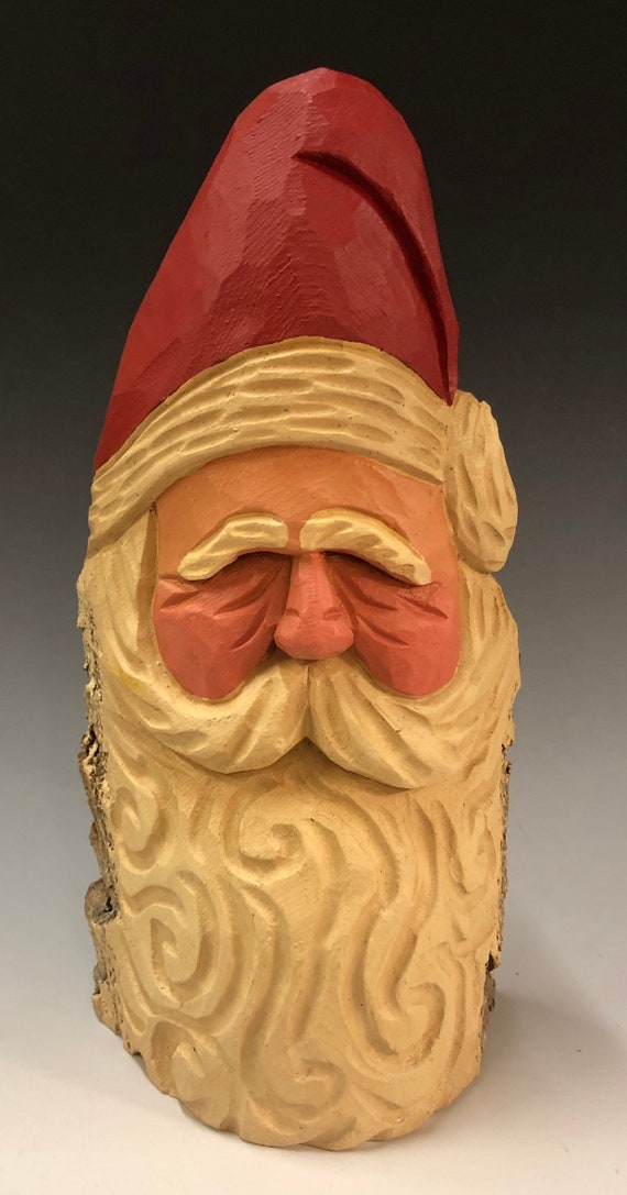 "HAND carved original 9"" traditional Santa bust from 100 year old Cottonwood Bark."