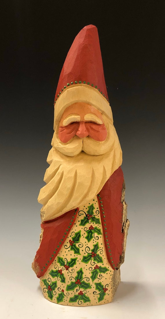 """HAND carved original 10.5"""" tall Santa w/ holly robe from 100 year old Cottonwood Bark."""