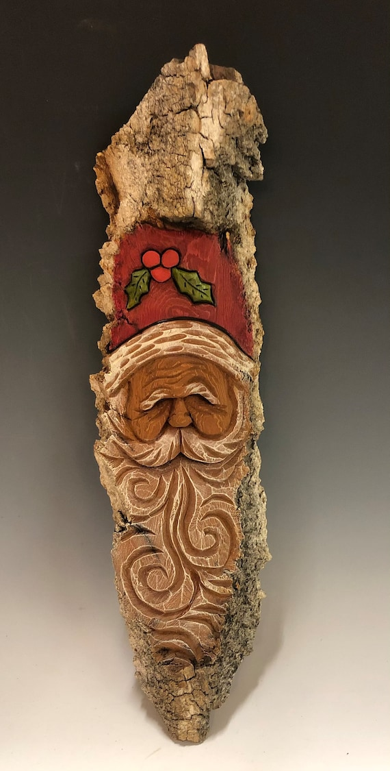 "HAND CARVED original 15"" Christmas Spirit  wall hanging w/ holly from 100 year old Cottonwood Bark"
