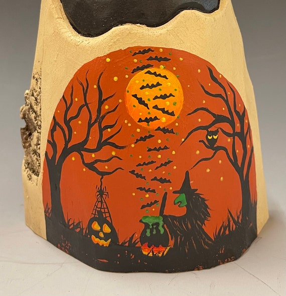 """HAND CARVED original 7"""" Halloween ghost with painted scene from 100 year old Cottonwood Bark"""