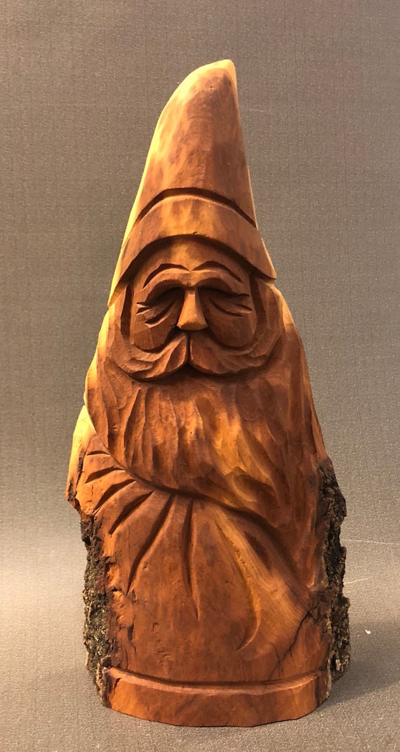 """HAND carved original rustic 8.75"""" tall Santa with natural finish from 100 year old Cottonwood Bark."""