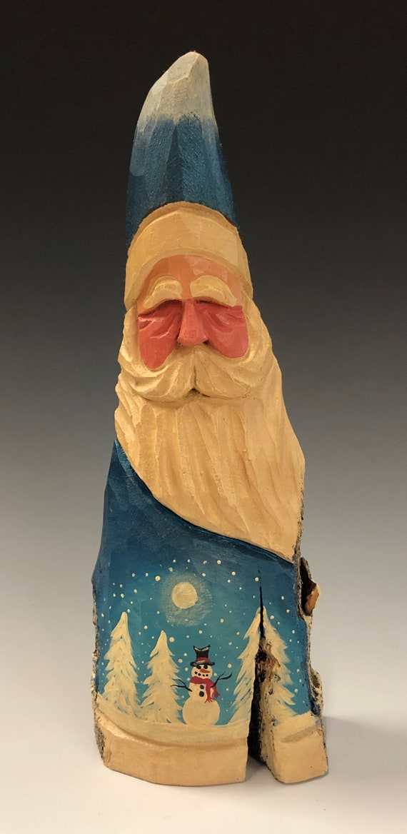 "HAND carved original 9.5"" tall Santa with snowman scene from 100 year old Cottonwood Bark."