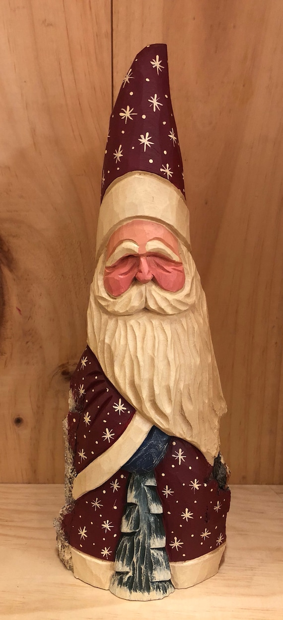 HAND carved original Santa with carved tree from 100 year old Cottonwood Bark.