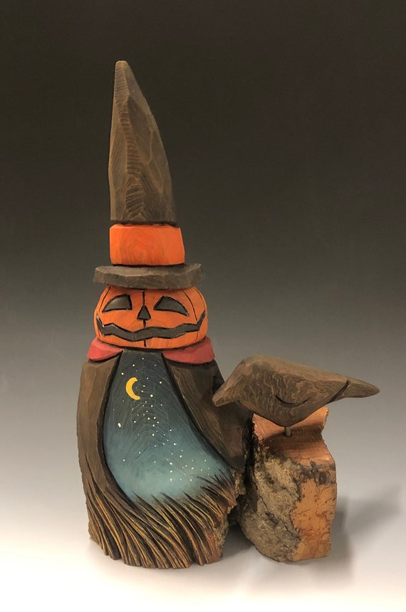 "HAND CARVED original 9"" tall jack o lantern man and crow from 100 year old Cottonwood Bark"