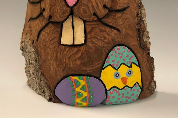 "HAND CARVED original 6.25"" tall, fat Easter Bunny w/ Easter eggs from 100 year old Cottonwood Bark."
