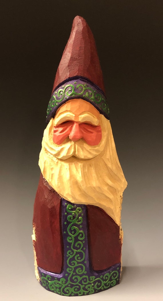 "HAND carved original large 9.5"" fancy trim Santa from 100 year old Cottonwood Bark."