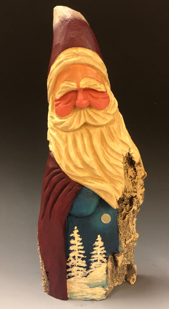 "HAND carved original 9.5"" tall Santa w/ painted trees from 100 year old Cottonwood Bark."