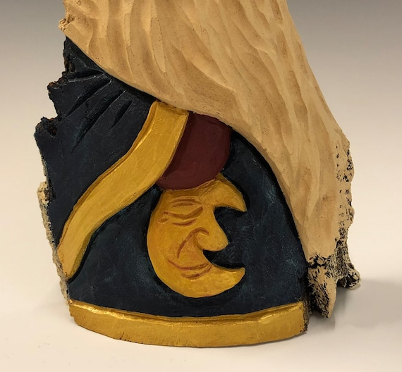 "HAND carved original 9.5"" tall blue Santa with moon from 100 year old Cottonwood Bark."