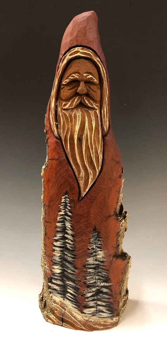 "HAND carved original 12"" tall Santa with wood burned trees from 100 year old Cottonwood Bark."