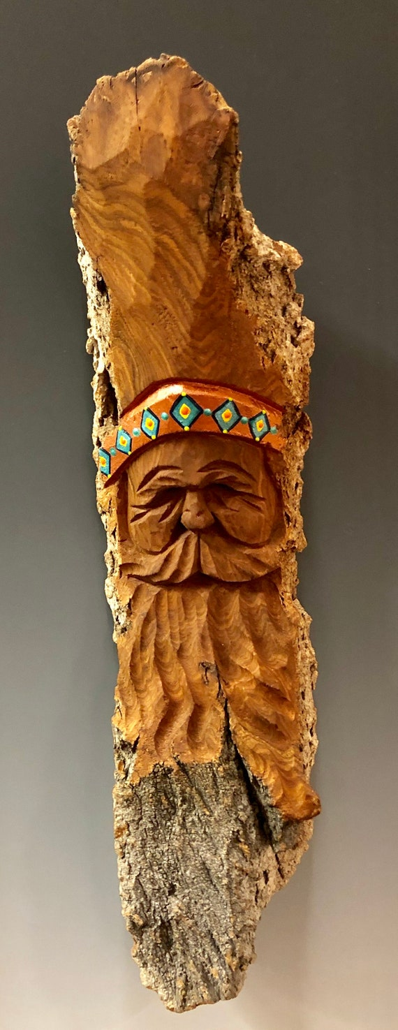 HAND CARVED original Southwest Santa wall hanging from 100 year old Cottonwood Bark