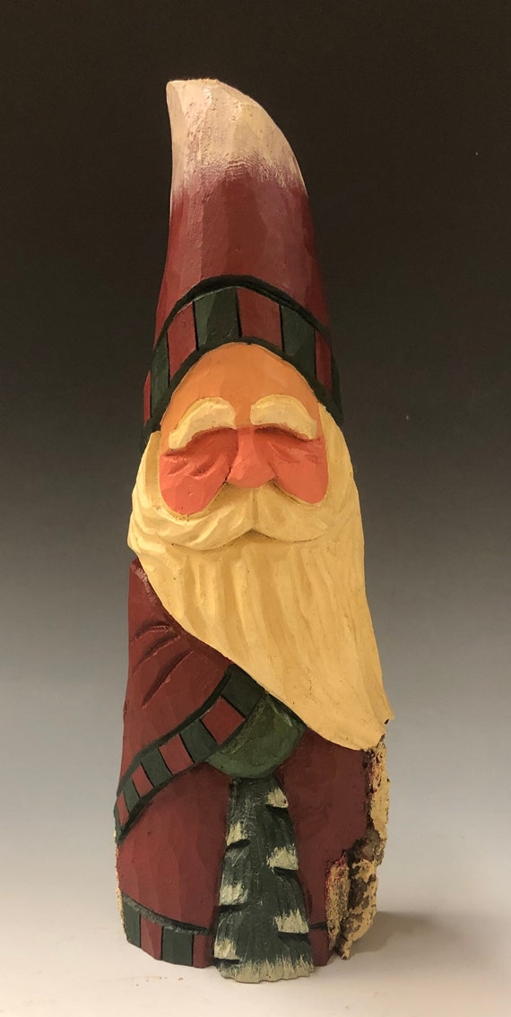"HAND carved original 10"" tall rustic Santa w/tree from 100 year old Cottonwood Bark."