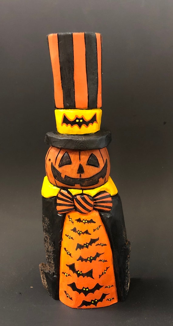 """HAND CARVED original 8.5"""" tall Halloween Jack-O-Lantern man in a top hat from 100 year old Cottonwood Bark"""