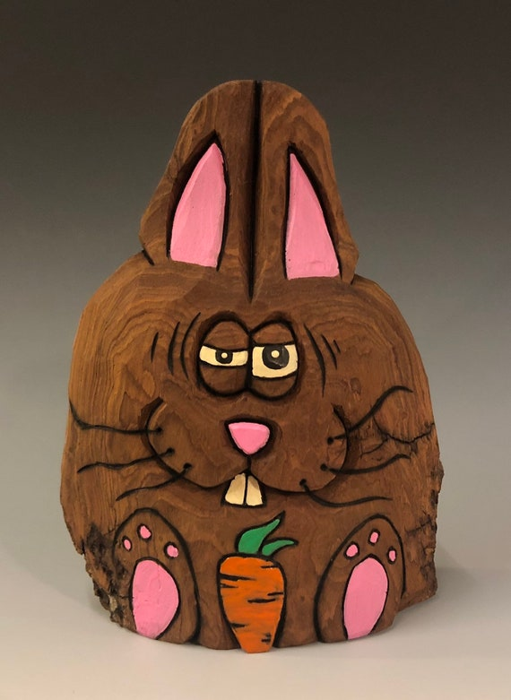 "HAND CARVED original 5.5"" tall Easter Bunny w/ carrot from 100 year old Cottonwood Bark."