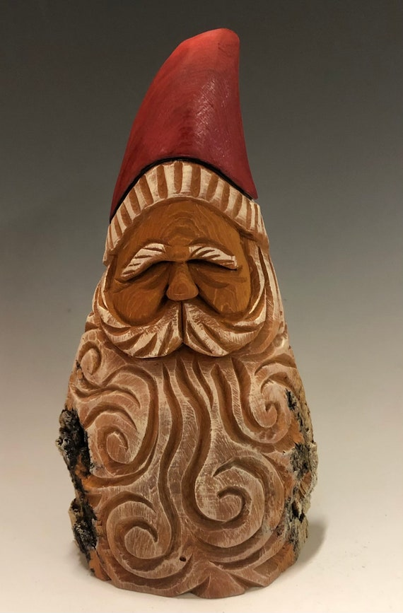 "HAND carved original 7.5"" tall Santa bust with natural/oil color finish from 100 year old Cottonwood Bark."