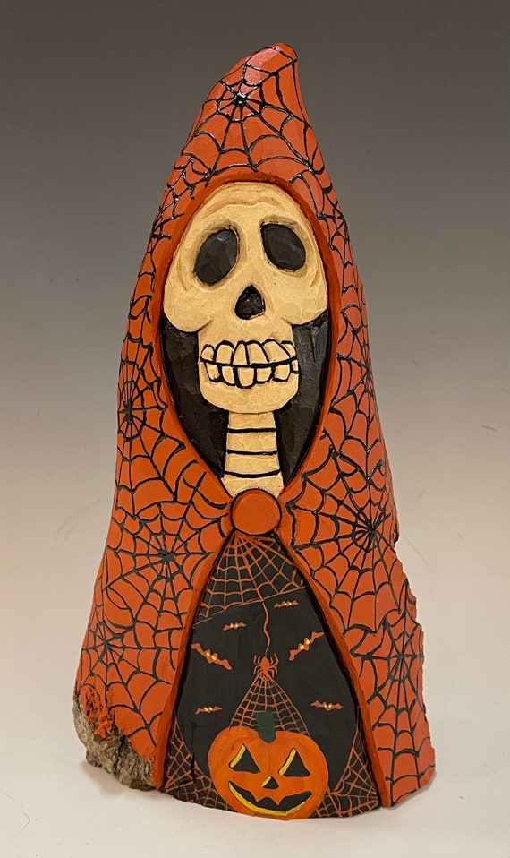 """HAND CARVED original 9"""" tall hooded Halloween Skelly from 100 year old Cottonwood Bark"""