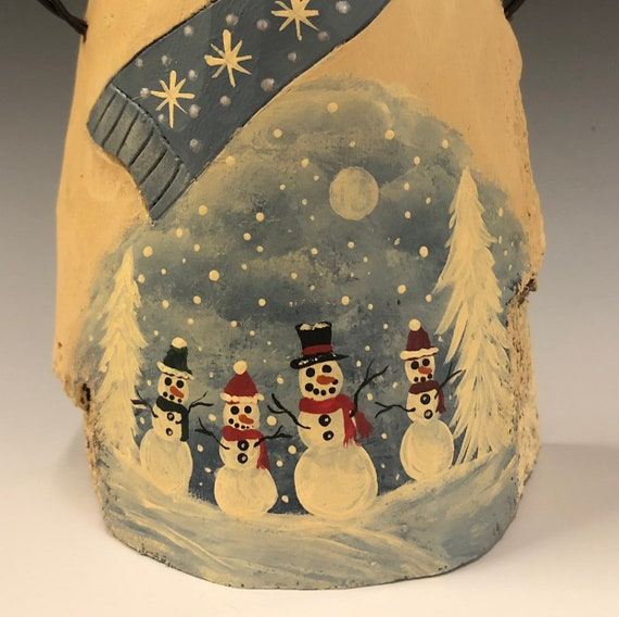 HAND carved original Snowman w/ winter scene from 100 year old Cottonwood Bark.