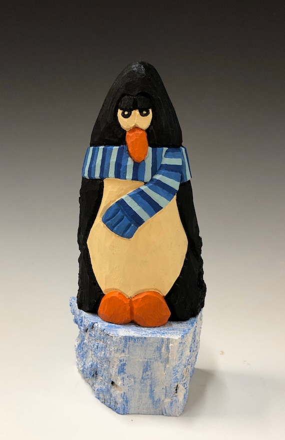 "HAND carved original 7"""" tall Penguin w/ scarf  on ice from 100 year old Cottonwood Bark."