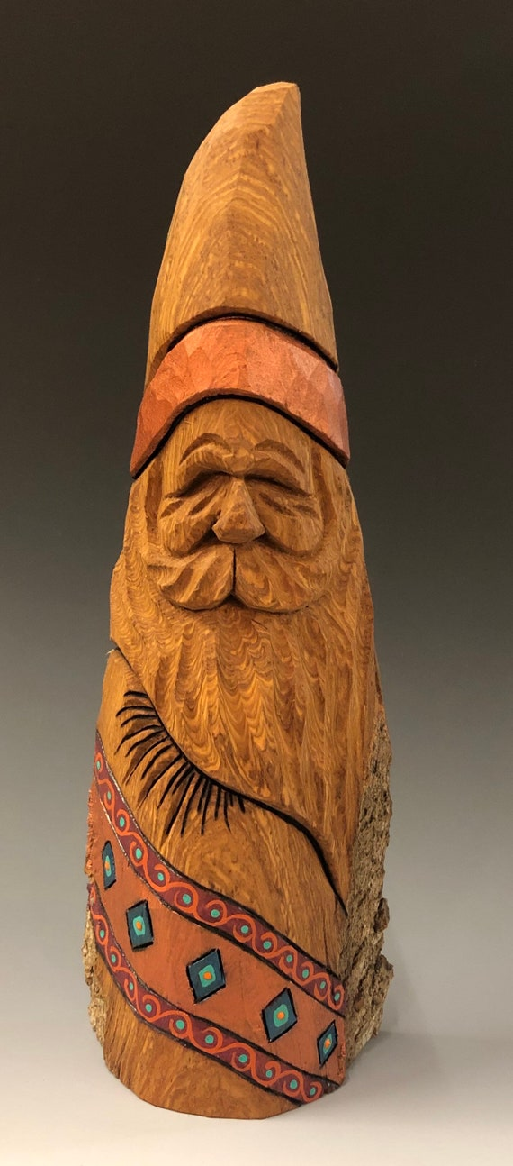 "HAND carved original 10"" tall Southwest Santa with oil stains from 100 year old Cottonwood Bark."