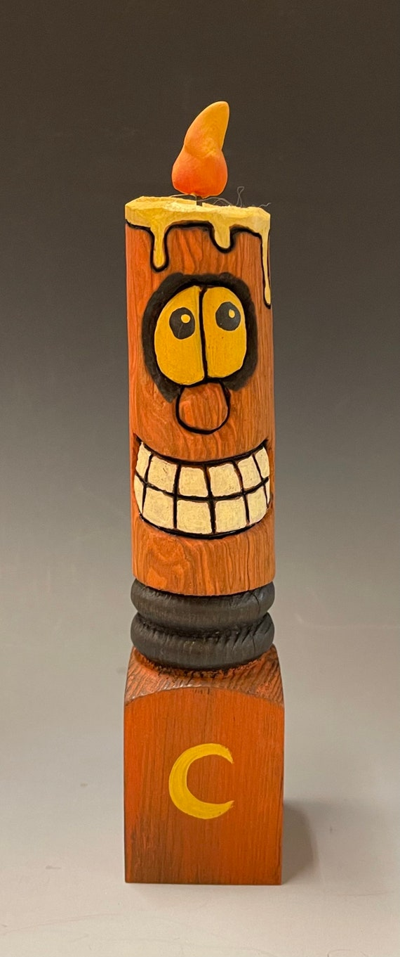 """HAND CARVED original 8.5"""" tall Halloween spooky candle from 100 year old Cottonwood Bark"""