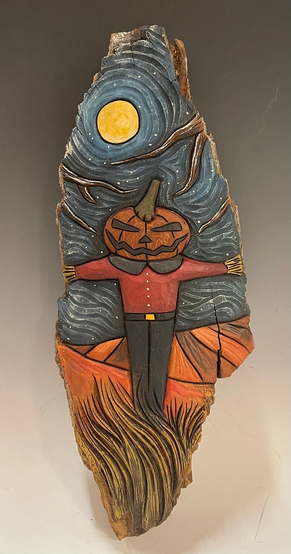 """HAND CARVED original 15"""" tall Halloween wall hanging from 100 year old Cottonwood Bark"""