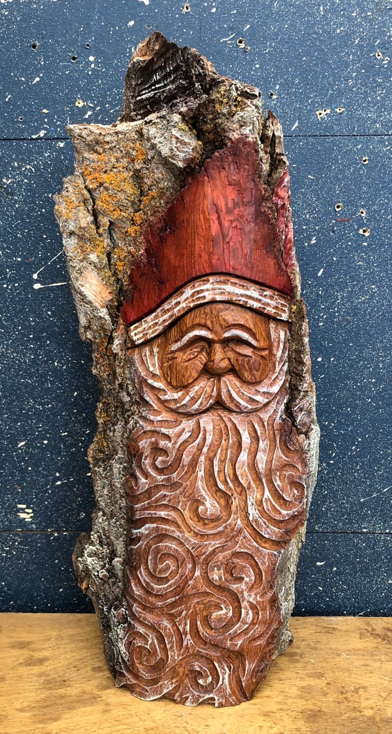 "HAND carved original 15"" tall Santa bust from 100 year old Cottonwood Bark."