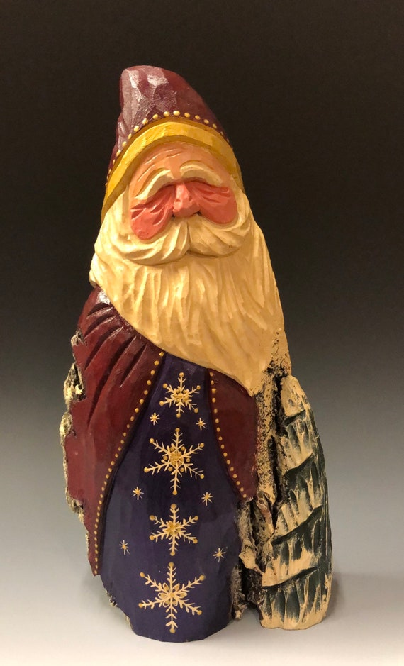 "HAND carved original large 11.5"" Santa and tree from 100 year old Cottonwood Bark."