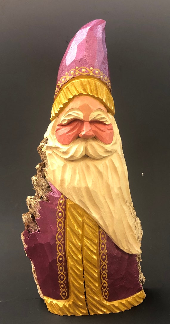 """HAND carved original 9"""" tall Santa w/ gold trim from 100 year old Cottonwood Bark."""