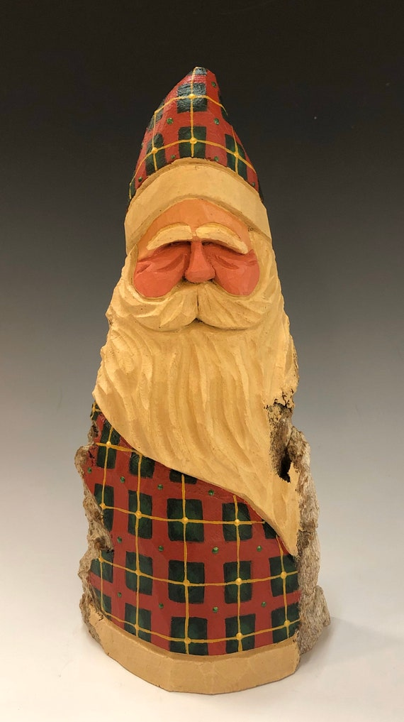 "HAND carved original 10"" tall Santa w/ plaid robes from 100 year old Cottonwood Bark."