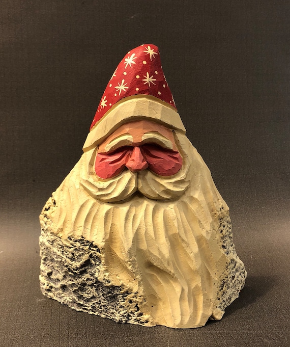 """HAND carved original 6"""" tall Santa bust from 100 year old Cottonwood Bark."""