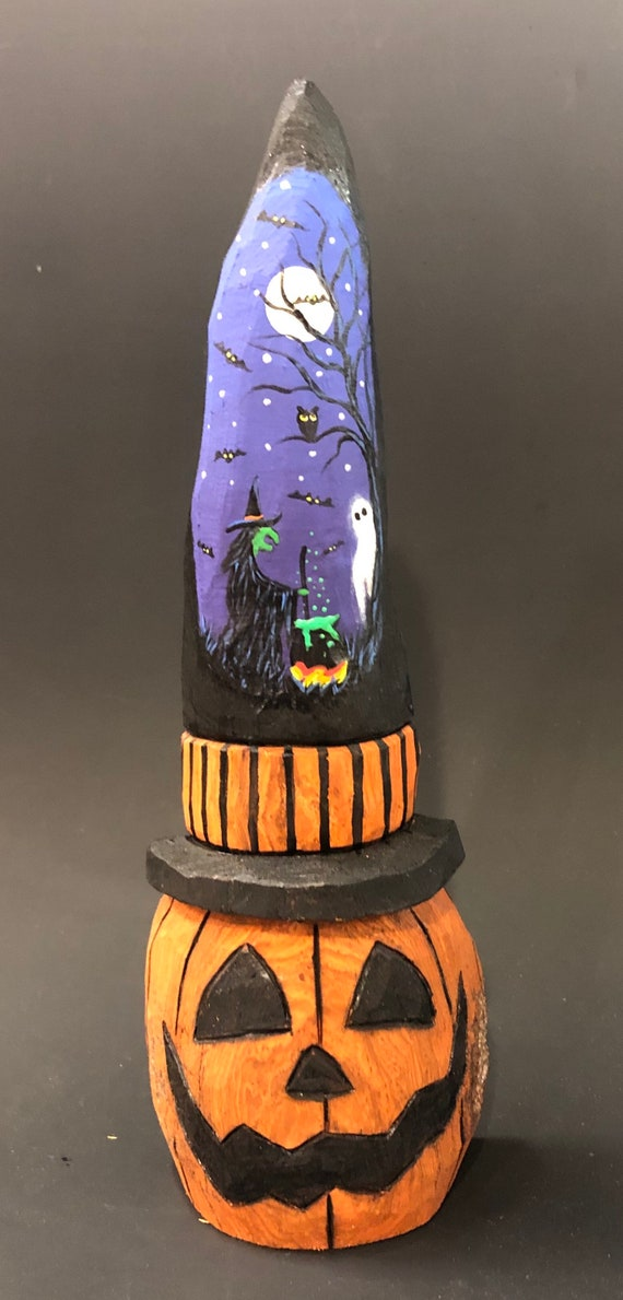 HAND CARVED original Halloween Jack-O-Lantern in a tall Witch hat from 100 year old Cottonwood Bark