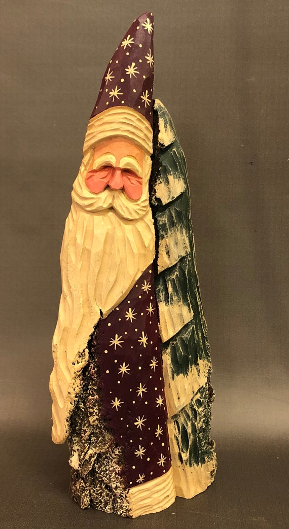 HAND carved original burgandy  Santa and tree from 100 year old Cottonwood Bark.