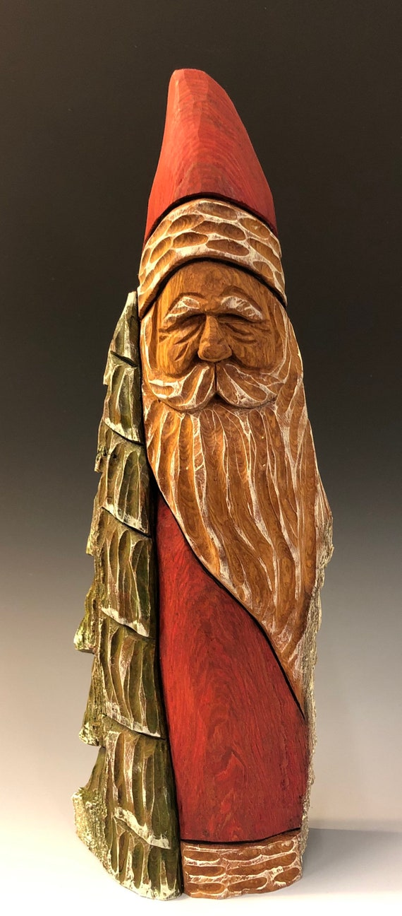 """HAND carved original 12.5"""" tall Santa and tree with oil stains from 100 year old Cottonwood Bark."""