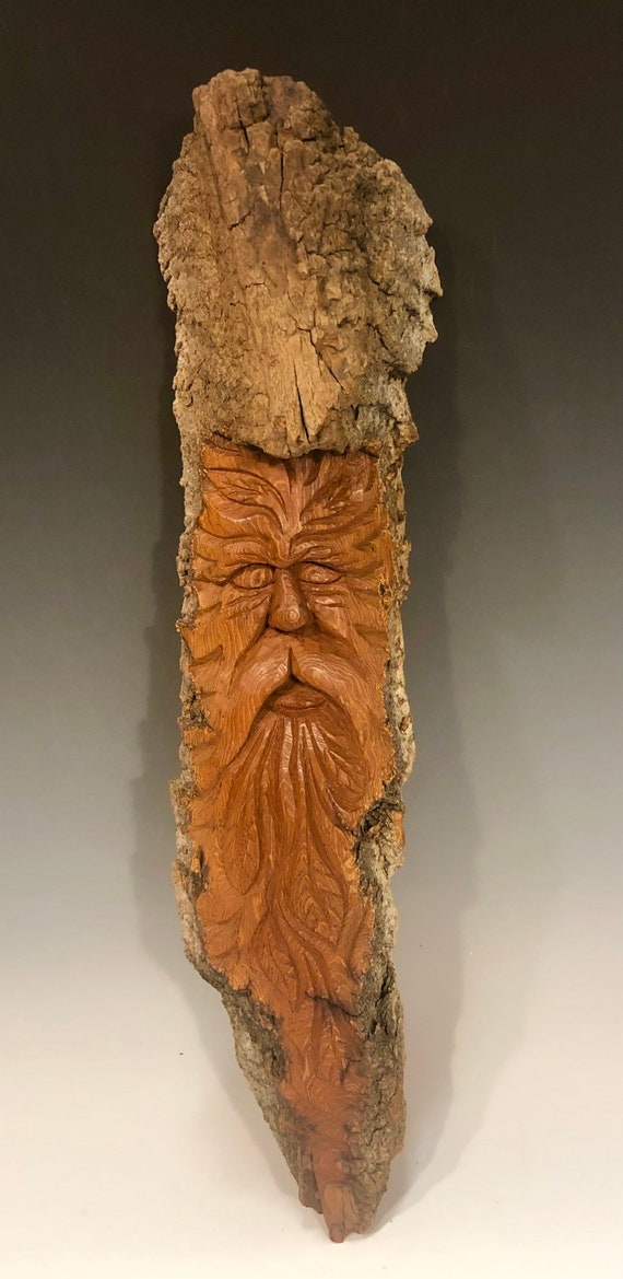 "HAND CARVED original 16"" long Tree Spirit  from 100 year old Cottonwood Bark"