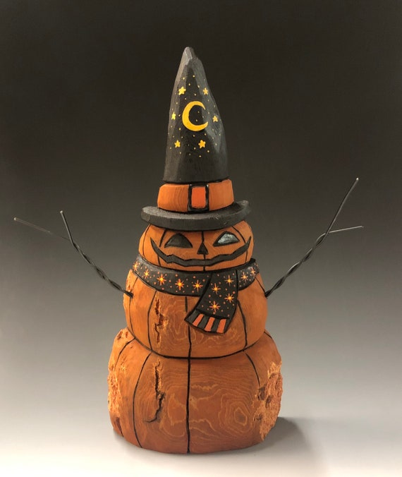 "HAND CARVED original 9.5"" tall Jack-O-Lantern ""snowman"" from 100 year old Cottonwood Bark"